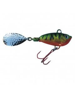 Spinner Jig mit Fischdekor Barsch / Blatt silber 10g