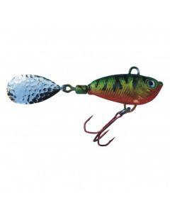Spinner Jig mit Fischdekor Barsch / Blatt silber 7g