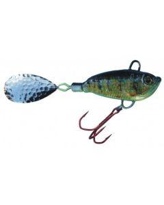 Spinner Jig mit Fischdekor Zander / Blatt silber 60g