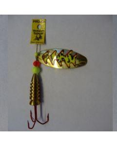 Spinner Oval - gold Folie feuergelb getiegert Größe 6