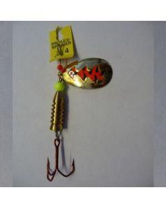 Spinner Tropfen - gold Folie signalrot getiegert Größe 6