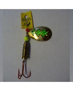 Spinner Tropfen - gold Folie grün metallic Größe 5