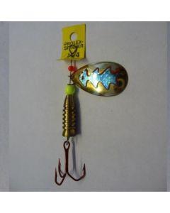 Spinner Tropfen - gold Folie blau metallic Größe 5