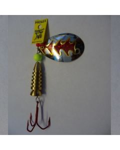 Spinner Tropfen - silber Folie rot metallic Größe 6