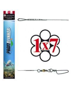 3 Stück Ocean-Wire 50cm Fertigmontage 1x7 mit Schlaufe und Wirbel silber 25kg
