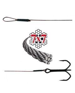 Soft-Wire Fertigmontage 7x7 mit Schlaufe und Drilling bronze 50cm Größe 6 Haken Größe 4