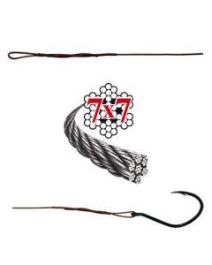 Soft-Wire Fertigmontage 7x7 mit Schlaufe und Wahnsinnshaken bronze 50cm Größe 6 Haken Größe 1